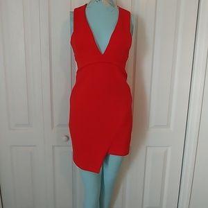 Bec & Bridge Plunging red cocktail dress 4